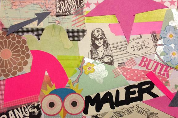 """Udsnit af collage fra min artjournal """"Men jeg må vel selv til at flytte mig..."""" Fotograf: Susanne Randers"""