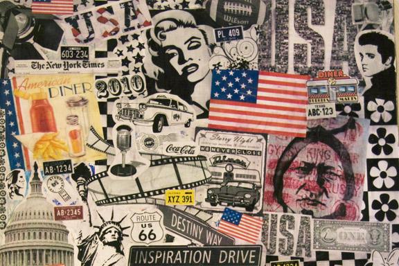 Udsnit af collage med masser af grafiske elementer lavet til veninde forud for USA tur i 2010. Fotograf: Susanne Randers