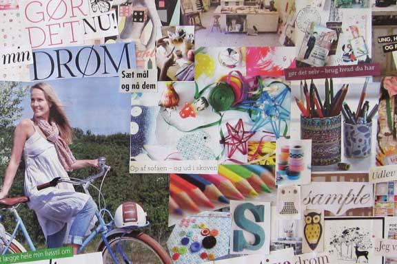 Udsnit af collage. Mit personlige dreamboard. Fotograf: Susanne Randers