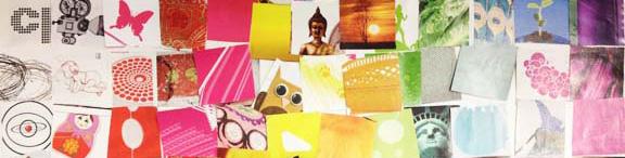 Udsnit af udkast til personlig regnbue collage. Fotograf: Susanne Randers