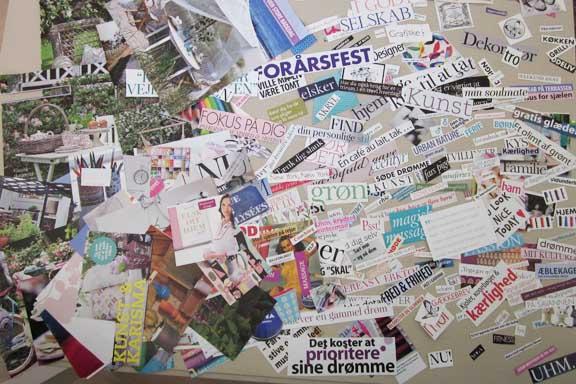 Indsamling af billeder og ord til mit personlige dreamboard fra 2011. Fotograf: Susanne Randers