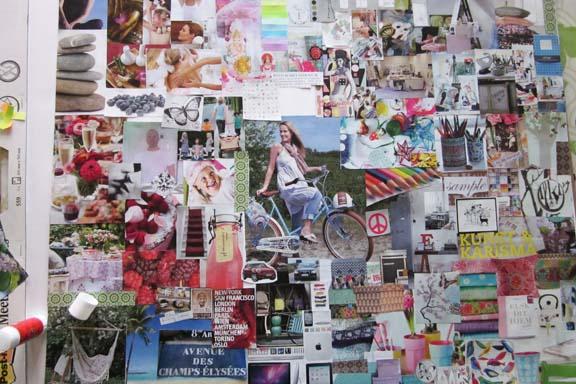 Udsnit af collage in progress. Mit personlige dreamboard fra 2011. Fotograf: Susanne Randers