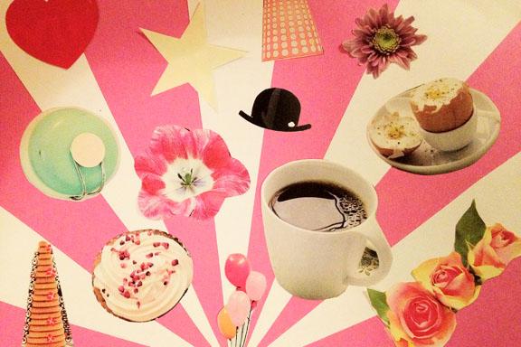 """Pink collage: """"En hyldest til hverdagen og mine forældre"""". Kreeret af Susanne Randers"""