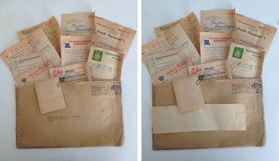 En collages tilblivelse: Kuvert med regnskabsbilag fra 1950'erne før limning og kontrastfarver. Fotograf: Susanne Randers