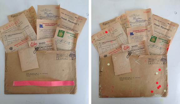 En collages tilblivelse: Kuvert med regnskabsbilag fra 1950'erne med moderne kontrastfarver og dots. Fotograf: Susanne Randers