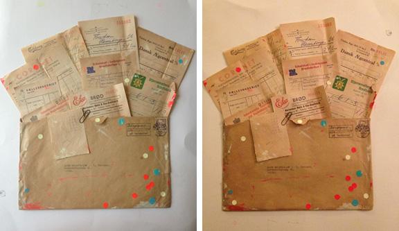 Den færdige collage: Kuvert med regnskabsbilag fra 1950'erne med moderne dots og malerklatter. Fotograf: Susanne Randers