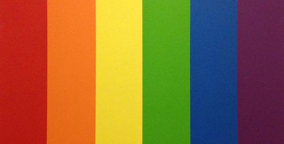Regnbue malet på væggen på opvågningsgangen på OUH. Fotograf: Susanne Randers