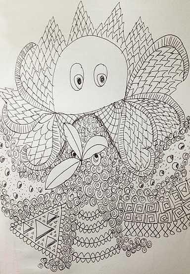Doodle - blækspruttefantasi. Tegnet af Susanne Randers