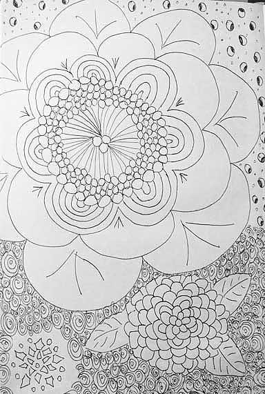 Doodle af retroblomst. Tegnet af Susanne Randers
