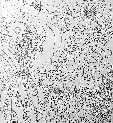 Doodle af påfugl. Tegnet af Susanne Randers