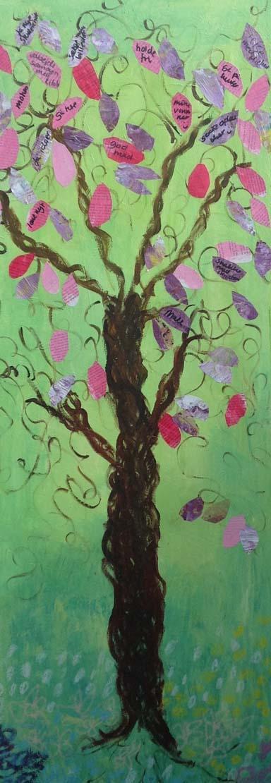 Et hvad gør mig glad træ malet af Helle Pollas. Fotograf: Helle Pollas