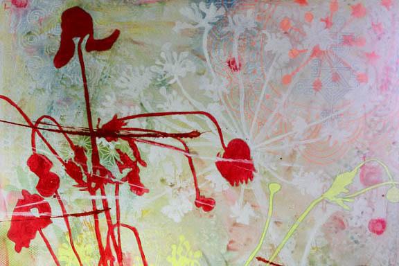 """""""Høstanemone i grøftekanten"""" mixed media maleri. Akryl og spray på lærred 100x100cm. Malet af Susanne Randers"""