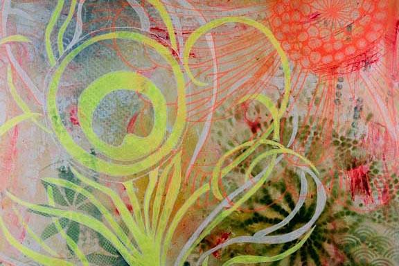 """""""Påfuglefjer"""" mixed media maleri. Akryl og spray på lærred 80x80cm. Malet af Susanne Randers"""