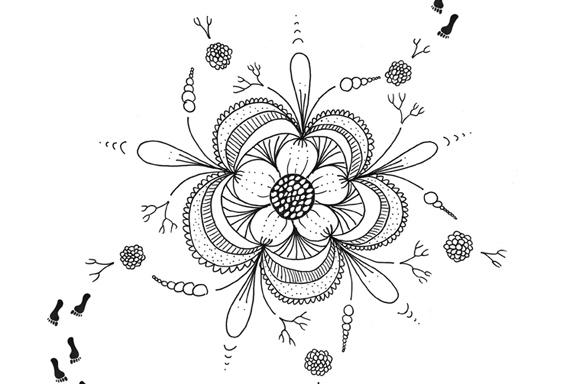"""Udsnit af serigrafi """"Husk at så blomster i dit fodspor"""" (citat Anne Julie). Kreeret af Susanne Randers"""