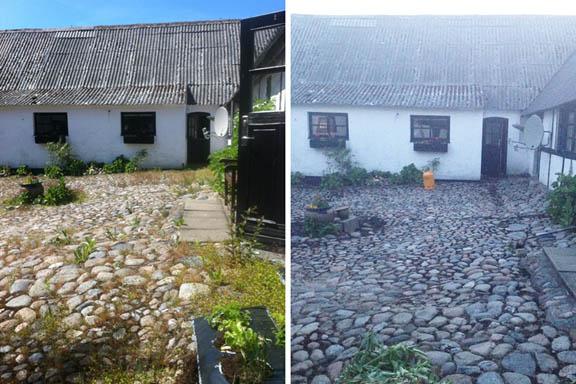 Ukrudtsbrænding er effektivt. Her er før og efterbilleder af dagens arbejde. Fotograf: Louise Østergaard Pedersen (før) og Susanne Randers (efter)