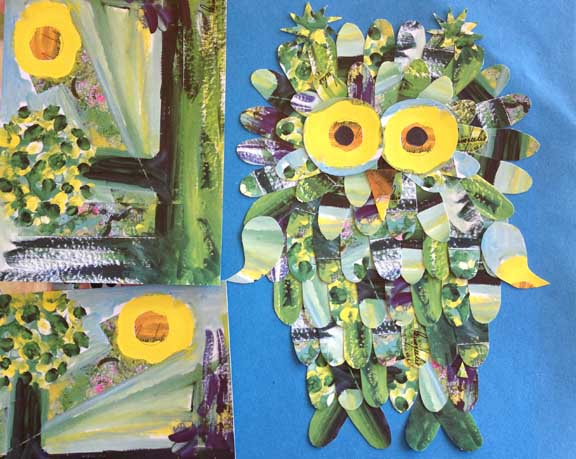 Uglecollage lavet af postkort som værtindegave. Kreeret af Susanne Randers