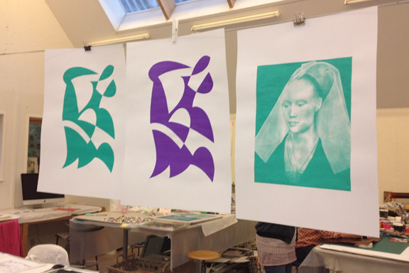 mitkrearum.dk kreativitet 107 kunsthøjskolen i holbæk serigrafiske værker in progress af mine medkursister