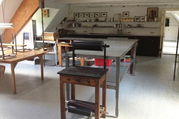 Grafikværkstedet på Kunsthøjskolen i Holbæk. Fotograf: Susanne Randers