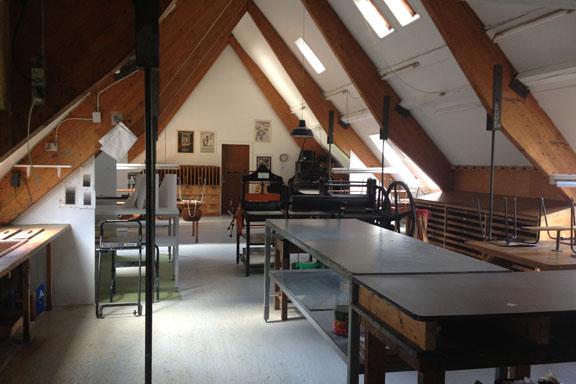 Grafikværkstedet på Kunsthøjskolen i Holbæk. Et drøm af et krearum.