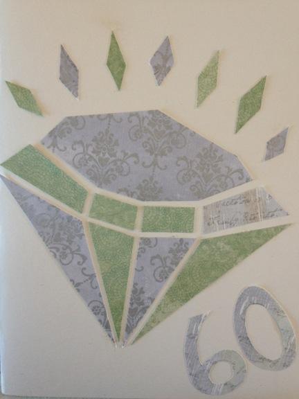 Færdigt lykønskningskort til diamantbryllup lavet af scrappapir. Fotograf: Susanne Randers