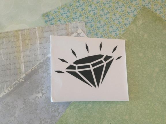 Moodboard med scrappapir og print af diamant. Fotograf: Susanne Randers