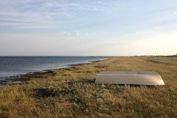 mitkrearum.dk kreativitet 111 læsø morgentur til stokken udsigt over havet med båd