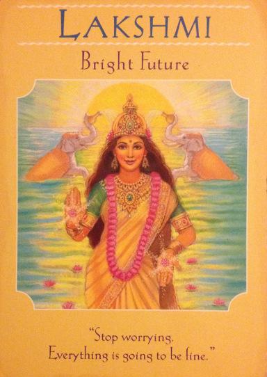 """Gudindekort """"Lakshmi"""" Bright Future / Lysende fremtid. Kan købes i bog-mystik.dk. Fotograf: Susanne Randers"""