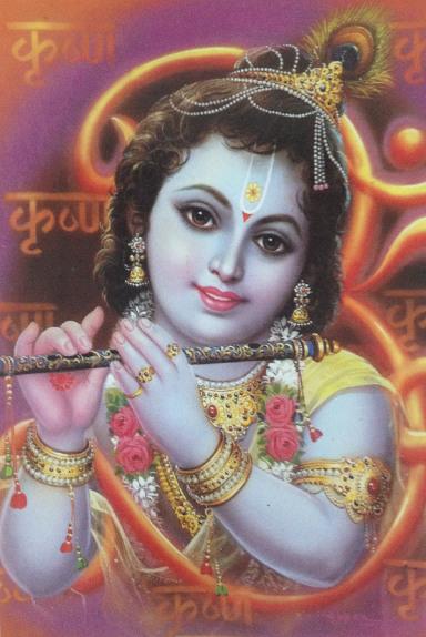 """Indisk postkort med """"Baby Krishna"""" fra Delta Publications. Fotograf: Susanne Randers"""