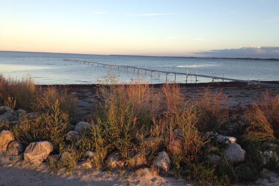 Aftenstemning på Køge strandeng med den smukkeste solnedgang og view ud over badebroen. Fotograf: Susanne Randers