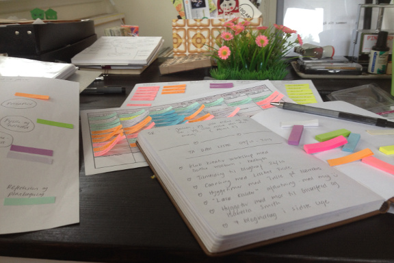 Arbejdet med ta-dah liste, to-day liste, powerflow og gameplan i mit krearum. Fotograf: Susanne Randers