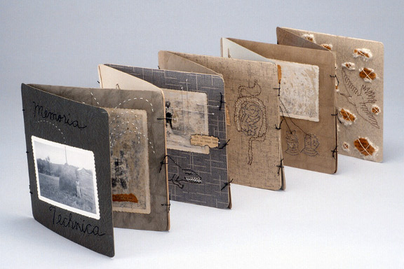 "Lisa Kokin: ""Memoria Technica"" _ Book Art Mixed Media One. Book art made from recycled and found materials. Cardboard photo frames, thread, found photos, mixed media collage, 8 x 50 x 8 inches, 2002"