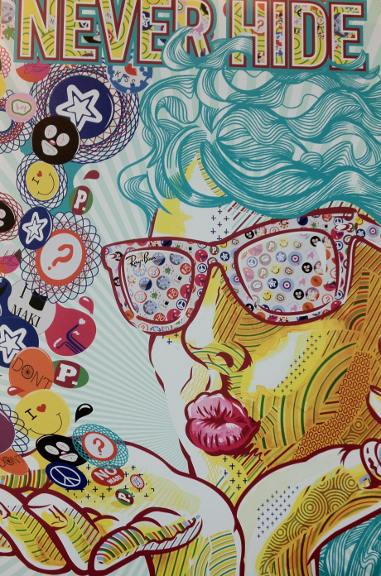 Flot grafisk doodle plakat fotograferet i Copenhagen Airport af Susanne Randers