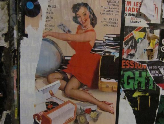 Pin up girl plakat fra Barcelona. Fotograf: Susanne Randers