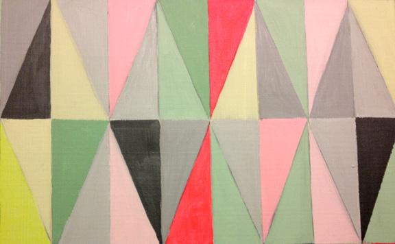 Udsnit af Ferm Living inspireret akrylmaleri i pastel- og neonfarver. Fotograf: Susanne Randers