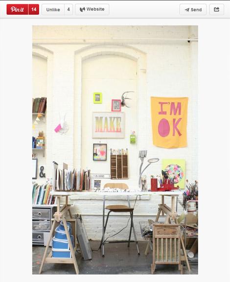 En af mine pins og likes på Pinterest. Lisa Congdons studio i San Fransisco.