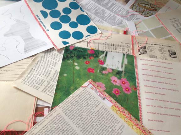 Nyt og gammelt papir syet sammen med neon pink sytråd. Work in progress på mit arbejdsbord. Fototgraf: Susanne Randers