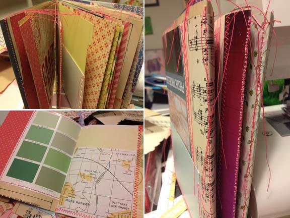 """Min første """"Book of Scraps"""" / """"Smashbook"""". Nyt og gammelt papir syet sammen med neon pink sytråd. Fototgraf: Susanne Randers"""