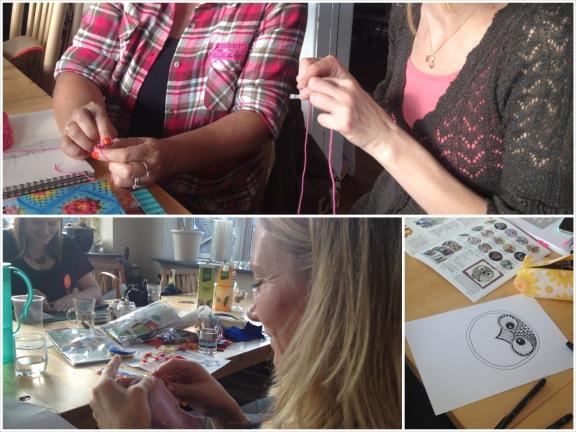Kreative sysler til blogtræffet; her hækling og zentangles. Fotograf: Susanne Randers