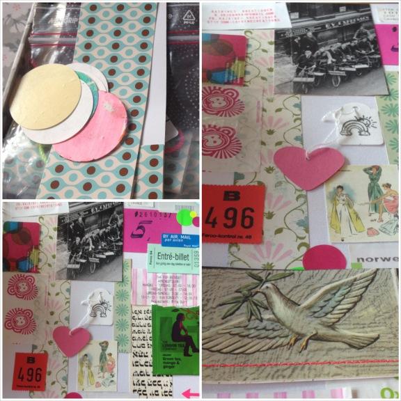Collage af min book art collage lavet til blogtræf hos Linda. Fotograf: Susanne Randers