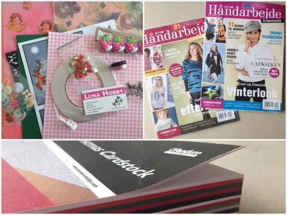 Kreative gaver i goodiebagen fra Luna Hobby, Alt om Håndarbejde og Christmas Cardstock fra Panduro Hobby. Fotograf: Susanne Randers