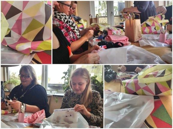 Blogtræf hos Linda 26. oktober 2013. Collage af åbningen af sponsor goodiebags. Fotograf: Susanne Randers