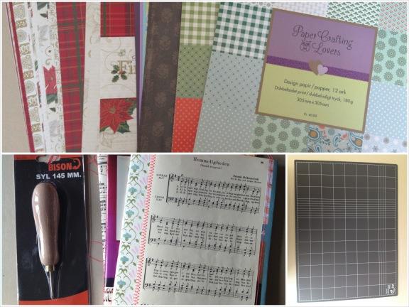 Flere kreative gaver: Scrappapir, papirsyl og A2 skæreplade. Fotograf: Susanne Randers