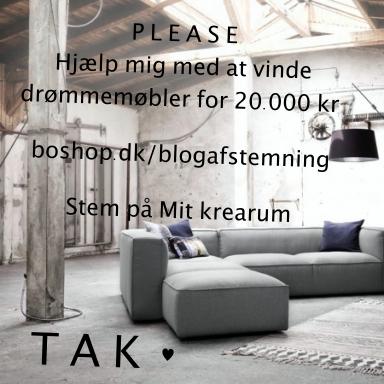 Hjælp mig med at vinde drømmemøbler fra BoShop. Stem på Mit krearum på boshop.dk/blogafstemning