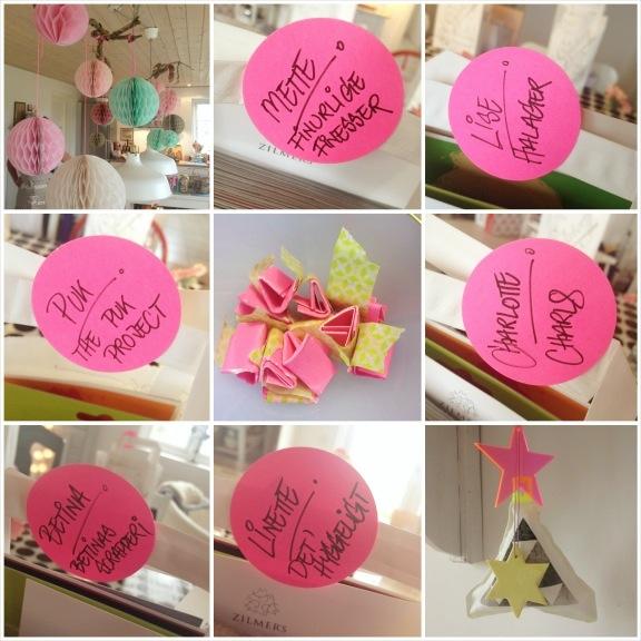 Deltagere på blogtræffet. Navneskilte af neonpink dots og fine detaljer fra hjemmet. Fotograf: Susanne Randers