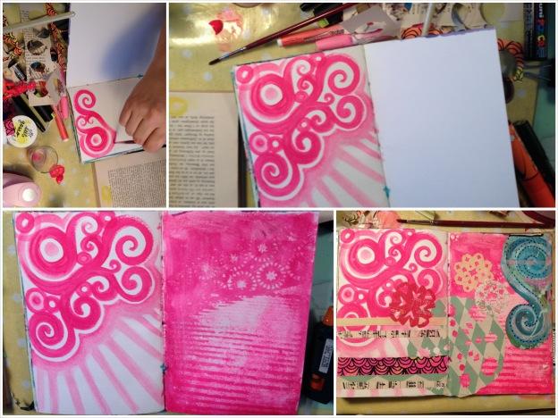 En artjournal bliver til. Her to neonpink sider af slagsen lavet af Pia Doodlediem. Fotograf: Susanne Randers