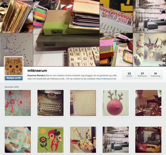 Screenshot af min Instagram profil - set fra en computer. Alle fotos er taget af Susanne Randers