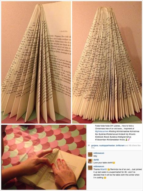 DIY: Foldet juletræ af gammel bog. Upcyckling... Genbrug...
