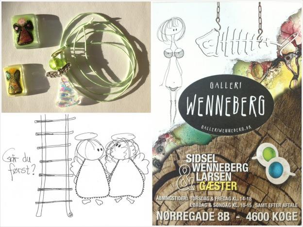 Galleri Wenneberg i Køge. Sidsel Wennebergs engletegning og glaskunstner Astrid Muncks lommeengle.