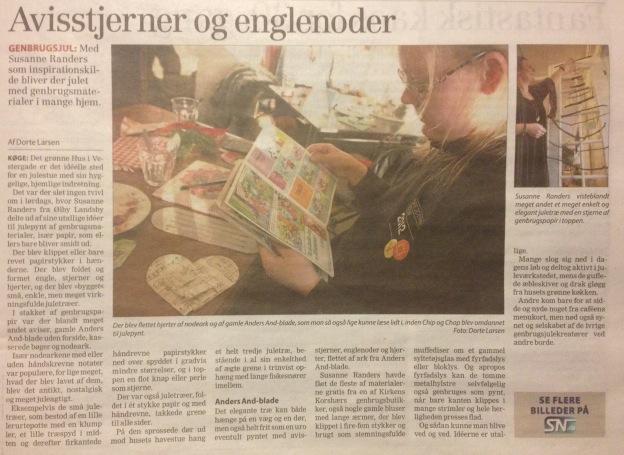 """Genbrugsjulestue i Det Grønne Hus: Side 3 af Dagbladet Køge 9. december 2013: """"Avisstjerner og englenoder"""""""