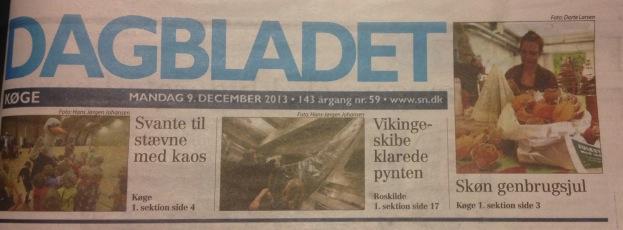 """Genbrugsjulestue i Det Grønne Hus: Forsiden af Dagbladet Køge 9. december: """"Skøn genbrugsjul"""""""